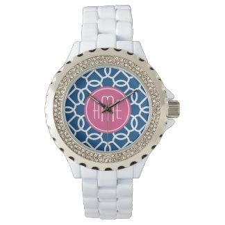 Hot Pink & Blue Geometric Pattern Monograms Watch