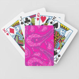 Hot Pink Blue Paisley Print Summer Fun Girly Bicycle Playing Cards