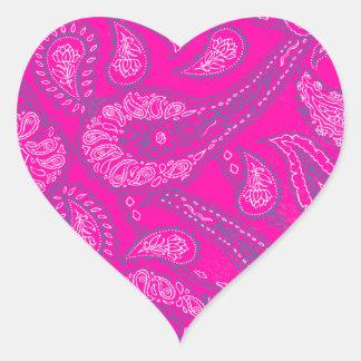 Hot Pink Blue Paisley Print Summer Fun Girly Heart Sticker