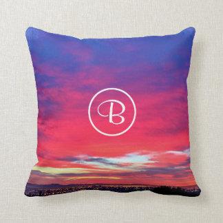Hot pink blue yellow sunrise photo custom monogram cushion