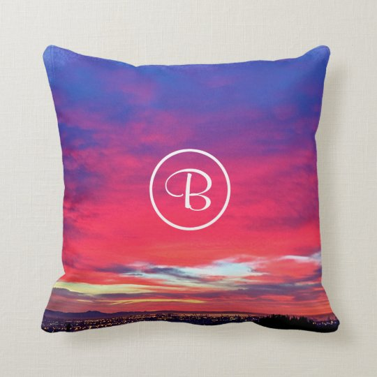 Hot pink blue yellow sunrise photo custom monogram cushion