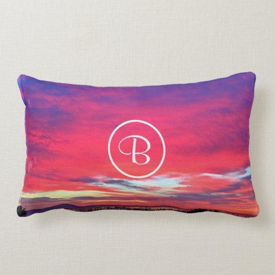 Hot pink blue yellow sunrise photo custom monogram lumbar cushion