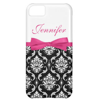Hot Pink Bow and Damask First Name iPhone Case