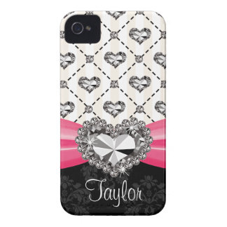 Hot Pink Bow Diamond Heart Rhinestone iPhone 4 Cas iPhone 4 Cover