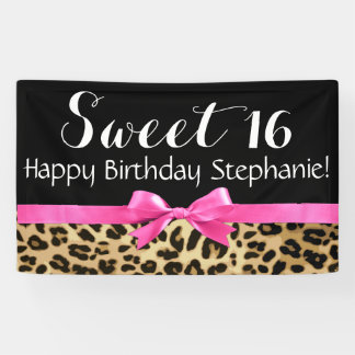 Hot Pink Bow Leopard Print Sweet 16 Birthday Party