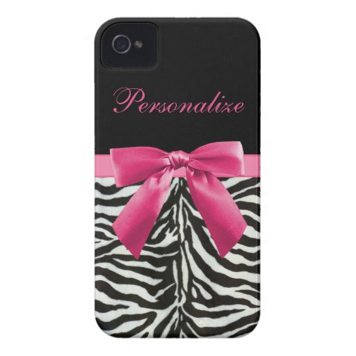 Hot Pink Bow on Zebra Pattern Personalized iPhone 4 Case-Mate Cases