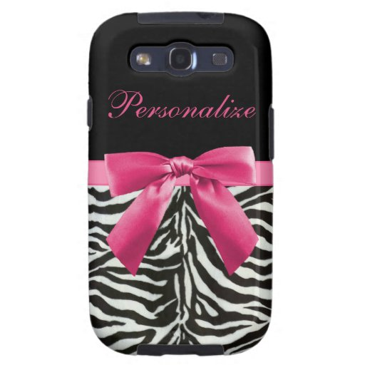 Hot Pink Bow on Zebra Pattern Personalized Samsung Galaxy SIII Case