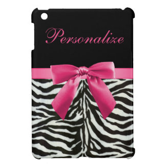 Hot Pink Bow on Zebra Pattern Personalized Cover For The iPad Mini