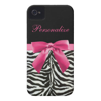 Hot Pink Bow on Zebra Pattern Personalized iPhone 4 Cover