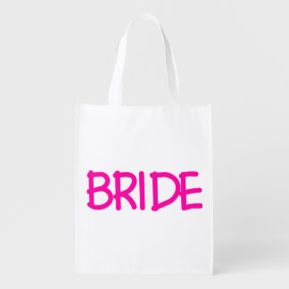 Hot Pink Bride Grocery Bags