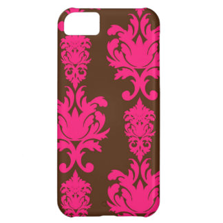 Hot pink & brown neon damask floral girly pattern iPhone 5C case