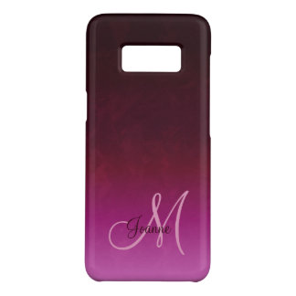 Hot Pink Burgundy Ombre Monogram Case-Mate Samsung Galaxy S8 Case