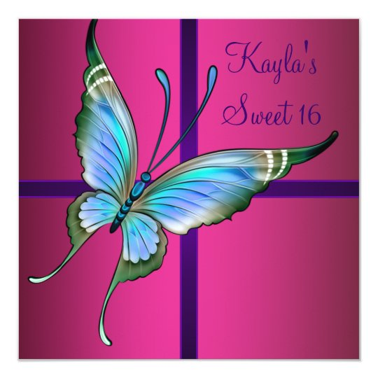 Hot Pink Butterfly Sweet 16 Party Card