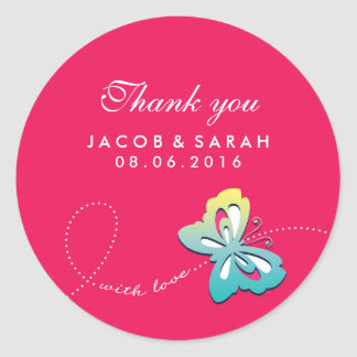 Hot Pink Butterfly Swirl Wedding Thank You Sticker