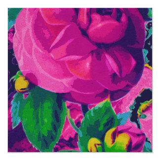 Hot Pink Cabbage Roses 13 Cm X 13 Cm Square Invitation Card