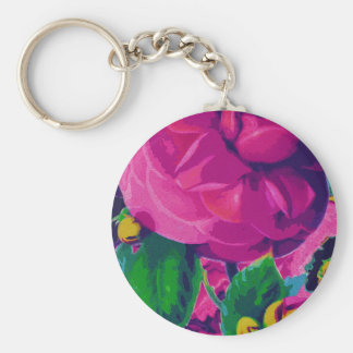 Hot Pink Cabbage Roses Basic Round Button Key Ring