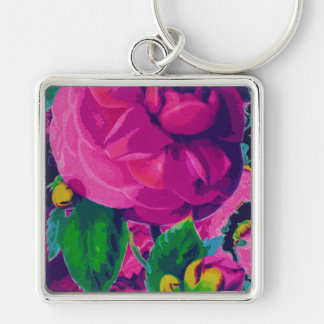 Hot Pink Cabbage Roses Silver-Colored Square Key Ring