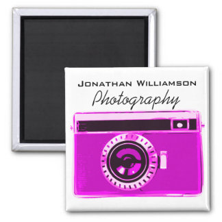 Hot Pink Camera Photography Business Square Magnet