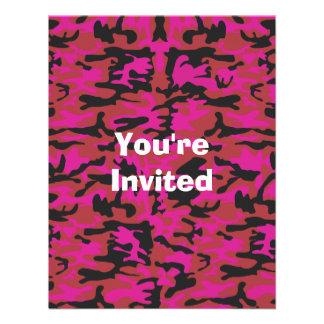 Hot pink camo pattern invitation