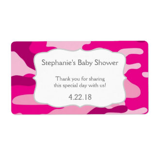 Hot Pink Camouflage Camo Water Bottle Favor Shipping Label