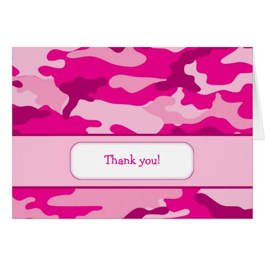 Hot Pink Camouflage Thank you Note Card