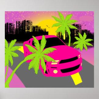 Hot Pink Car Poster Print Posters