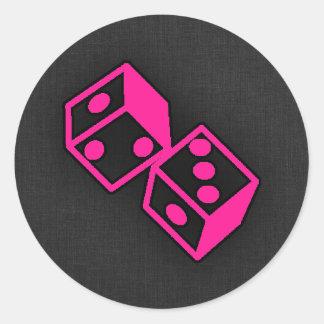Hot Pink Casino Dice Round Sticker