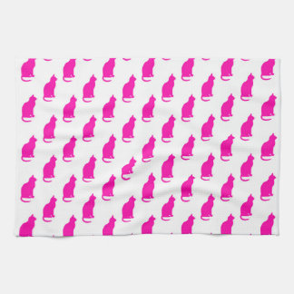 Hot Pink Cat Pattern Cats Texture White Tea Towel