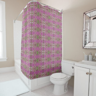 Hot Pink Catchfly Geometric 3 Shower Curtain
