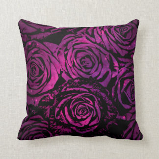 Hot Pink Celestial Floral Roses Cushion