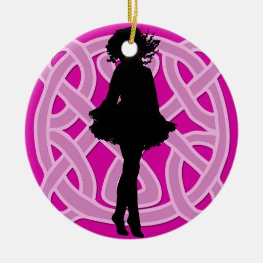 Hot Pink Celtic Dancer Ornament