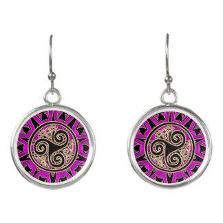 Hot Pink Celtic Triskele Mandala Earrings