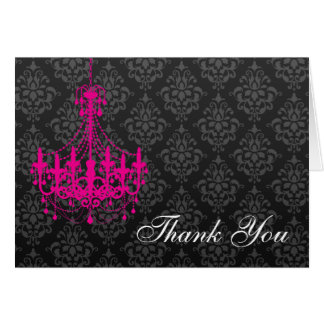 Hot Pink Chandelier Black Damask Thank You Note Card