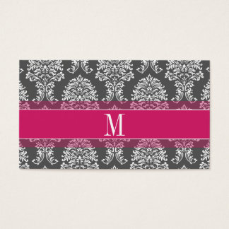 Hot Pink & Charcoal Damask Pattern with Monogram
