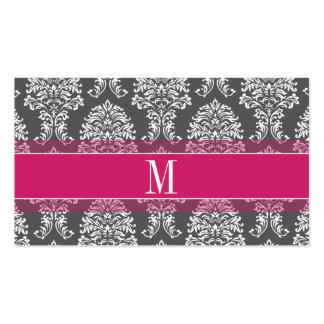 Hot Pink & Charcoal Damask Pattern with Monogram Pack Of Standard Business Cards