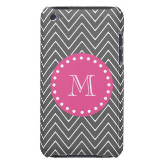 Hot Pink, Charcoal Gray Chevron | Your Monogram iPod Touch Cover