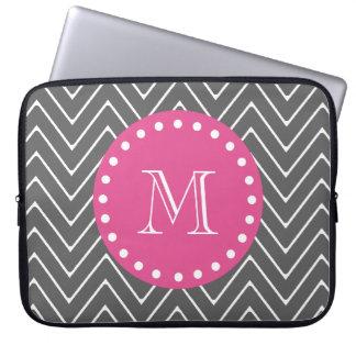 Hot Pink, Charcoal Gray Chevron | Your Monogram Laptop Sleeve
