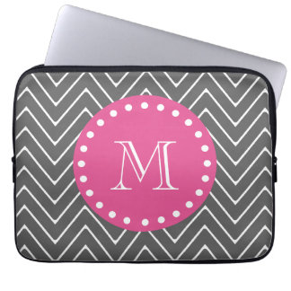 Hot Pink, Charcoal Gray Chevron | Your Monogram Laptop Sleeve