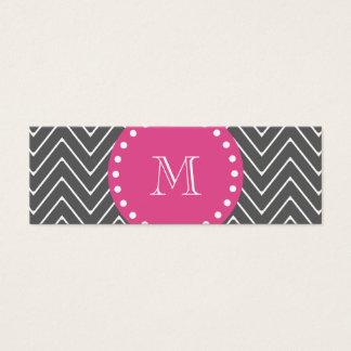 Hot Pink, Charcoal Gray Chevron | Your Monogram Mini Business Card