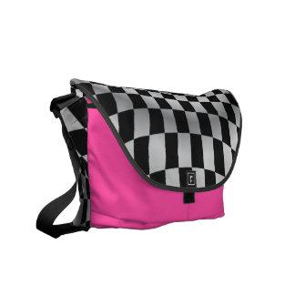 Hot Pink Checkered Flag Racing Messenger Bag