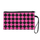 Hot Pink Checkers Wristlet