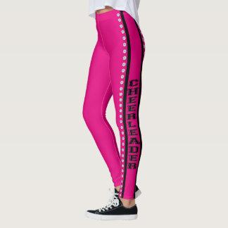 Hot pink cheerleader design pattern leggings