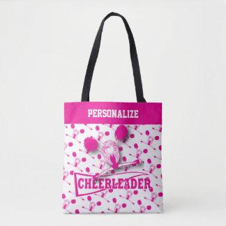 Hot Pink Cheerleader Girl Tote Bag