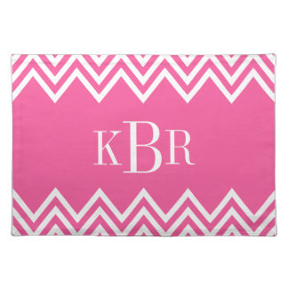 Hot Pink Chevron Custom Monogram Placemat
