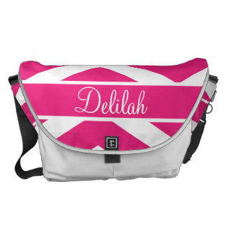 Hot Pink Chevron Custom Name Courier Bags