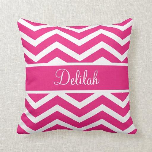 Hot Pink Chevron Custom Name Throw Pillow
