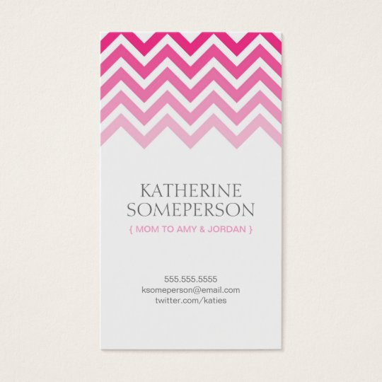 Hot Pink Chevron Ombre Mum Calling Cards