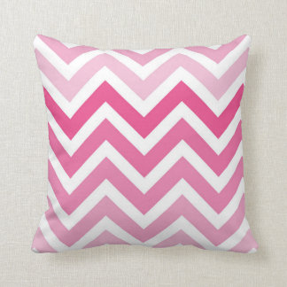 Hot Pink Chevron Ombre ZigZag Pattern Throw Cushions