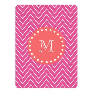 "Hot Pink Chevron Pattern   Coral Monogram 6.5"" X 8.75"" Invitation Card"
