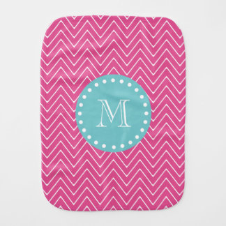Hot Pink Chevron Pattern | Teal Monogram Burp Cloth